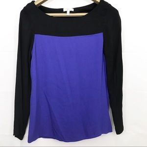 Joie Aliso Color Block Blouse Rayon Long Sleeve